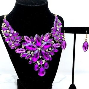 Gorgeous Purple Crystal Statement Necklace Set
